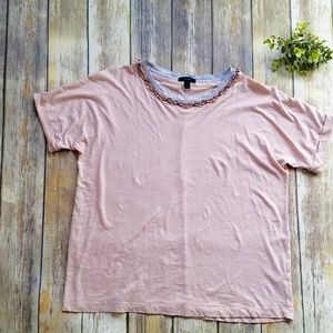 J. Crew Jeweled Neckline Blush Roll Sleeve Tee L